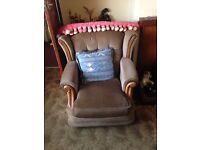 Glass cabinet, 2 seater sofa and arm chair