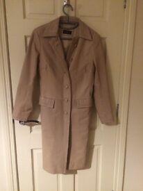 Cream leather coat, size 10