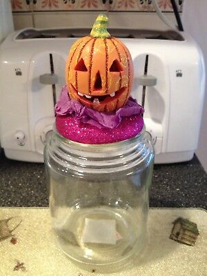 Grasslands Road Halloween Pumpkin Jack O Lantern Glass Treat Jar Container - Glass Jar Halloween Lanterns