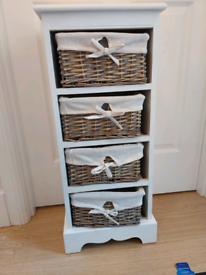 Hallway Storage Unit with Wicker Baskets