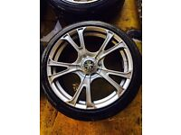 """18"""" MINT CONDITION WOLFRACE ALLOY WHEELS FORD FOCUS MONDEO GALAXY TRANSIT CONNECT SET OF 4 WITH TYR"""