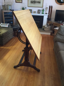 Antique drafting table, adjustable, steampunk, industrial