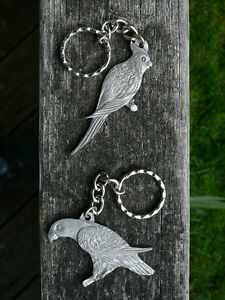Bird pewter keychains by Rawcliffe - African Greys, Parrots, etc