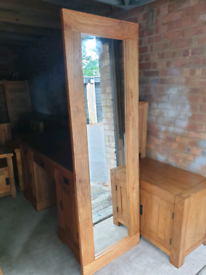 Oak Furniture Land Mantis Natural Solid Mango Framed Long Wall Mirror