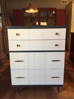 Vintage charcoal and white 4 drawer dresser