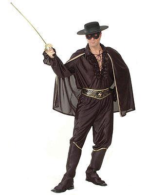 Zorro Super Hero Deluxe Bandit Man Panto One Size Mens New Fancy Dress Costume - Deluxe Zorro Costume