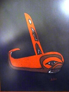 "Blackfish Artist, Original Haida Mask Pastel, Shawn Aster ""Orca"" Stratford Kitchener Area image 3"