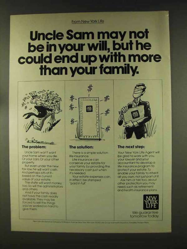 1977 New York Life Insurance Ad - Uncle Sam