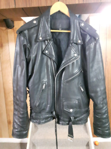 Heavy leather motorcycle jacket