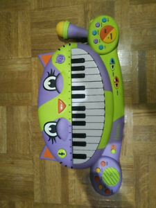 White, green, black and purple battery operated keyboard