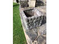 2 x vintage concrete-cast Square Garden Planters