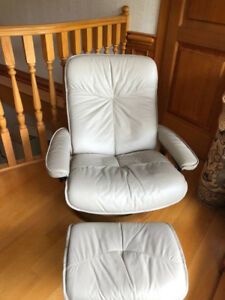 IKEA Beige leather recliner and ottoman