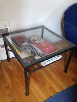 Iron & Glass coffee table 68 cm square 49 cm height