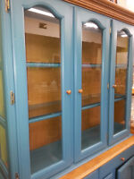 PAINTED BLUE CHINA CABINET WAS $695.00 NOW $495.00 weekend only!