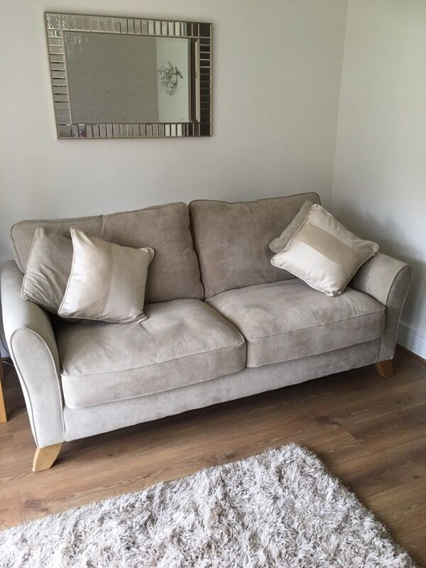Large Solid Oak Frame Fabric Sofa Perfect Condition 1yr Old