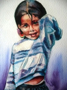 "Watercolor Lithograph by Lisandro Lopez Baylon ""Portrait of Indi Stratford Kitchener Area image 3"