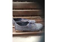 Navy floral brogues size 8