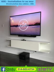 INSTALLATEUR television au mur support tv murale tele mural