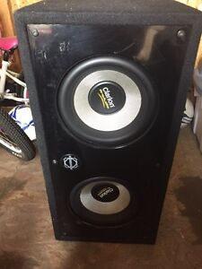 "Two Clarion 10"" ProAudio DVC subs in box"