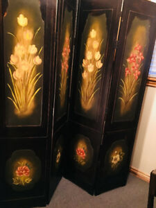 wooden privacy screen with beautiful floral painting