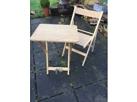 Country Cottage/Rustic Wooden Hessian Bistro Table & Chair