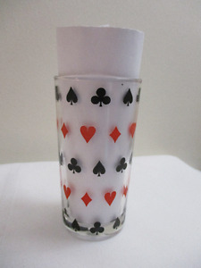 Vintage Dominion Drinking Glass - Poker Suits