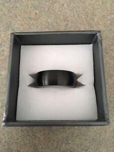 Black Cobalt Dome Brushed Wedding Band Ring, 8mm