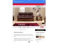Scs rochelle brown leather and wood sofa