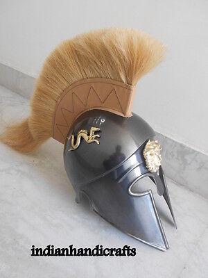 GREEK KING SPARTAN CORINTHIAN  BLACK  ANTIQUE FINISH HELMET W/DRIGON  REPLICA