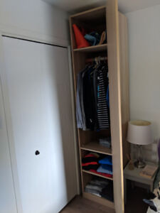2 penderies IKea PAX chêne blanchi