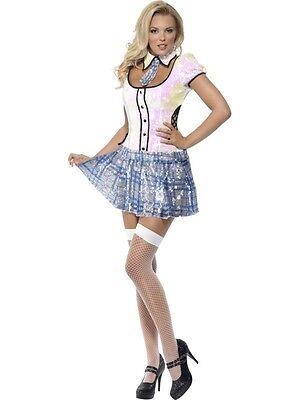 Damen Schulmädchen Bling Sexy Kostüm Verkleidung Outfit Erwachsene