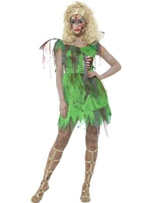 Zombie Fairy Costume Fancy Dress Medium 12-14 Halloween Horror Tinkerbell Ladies ()