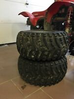 2 ATV rear tires and rims for sale!