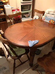 Hard wood dining table(extendable) with 4 hard wood chair