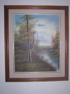 Acrylic Oil Painting Pastoral Scene Forest by Water Wood Frame