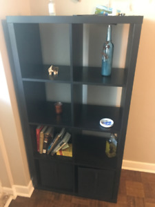 Perfect condition Ikea shelving unit and 2 SKUBB boxes
