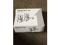 Chrome plated contract basin taps - brand new