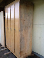 Four door wardrobe/storage cabinet,solid spruce construction.