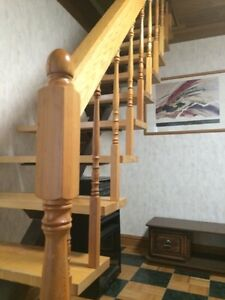 Steel  beam with solid wood plank steps and hand rail. London Ontario image 3