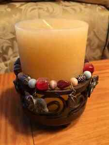 CANDLE WITH BEADED STAND Kitchener / Waterloo Kitchener Area image 3