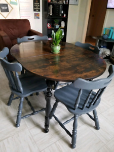 Dining Room Table Set, Refinished, Rustic