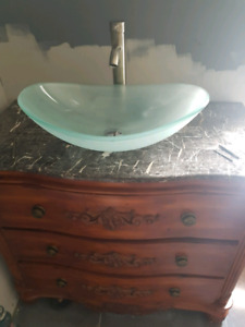 New vessel sink and faucet in box