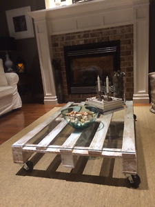 Wood living room table with glass top