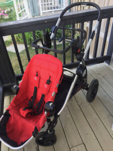 RED city select double stroller with car seat adapter