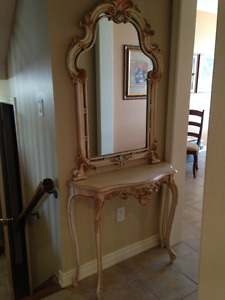 console table with matching mirror