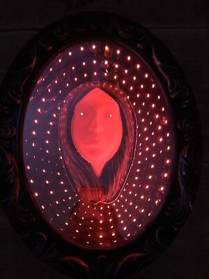 NEW Gemmy RED Halloween Animated Ghost Infinity Mirror Lights & Haunting Sounds - Haunted Halloween Animated Mirror