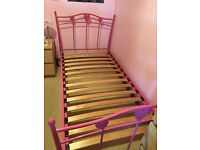 Next pink metal frame hearts single bed