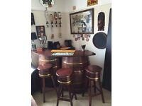 Vintage oak whisky barrel bar with 3 stools and al equipment including fridge