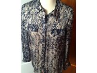 Beautiful PLANET size 12 navy & cream chiffon shirt