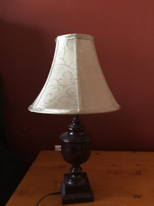 Brown mahogany desk lamp with green fabric shade